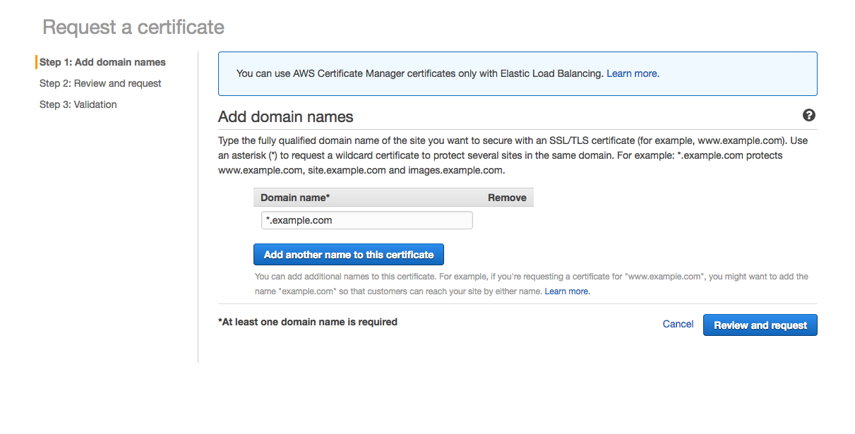 AWS ACM create new certificate